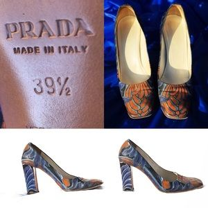 Vintage PRADA abstract art heels with flaws